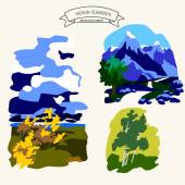 Amazing glaciers on mountain green valley with birch grove vector illustration