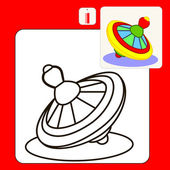 Coloring Book or Page Cartoon Illustration of yellow whirligig