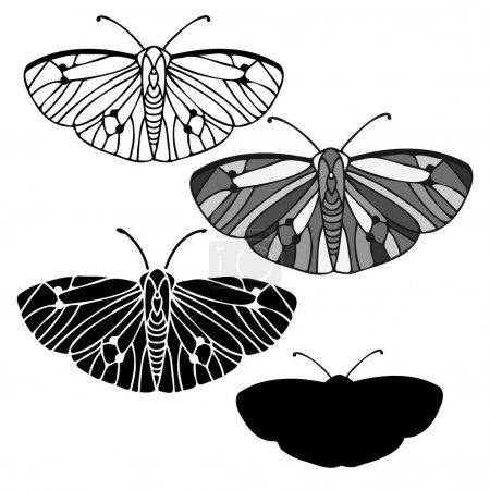 Photo for Abstract isolated vector black and white lined set illustration design of butterfly. The design is perfect for textiles, decorations, stickers, logos, badges, invitations, cards, tattoos. - Royalty Free Image