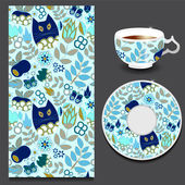 vector cartoon cat and apple pattern with cup and plate stock