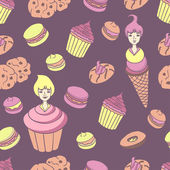 Sweet Vector Pattern with Cute Little Girls  and Cookies