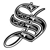 Beautiful decoration English alphabets Gothic style letter S