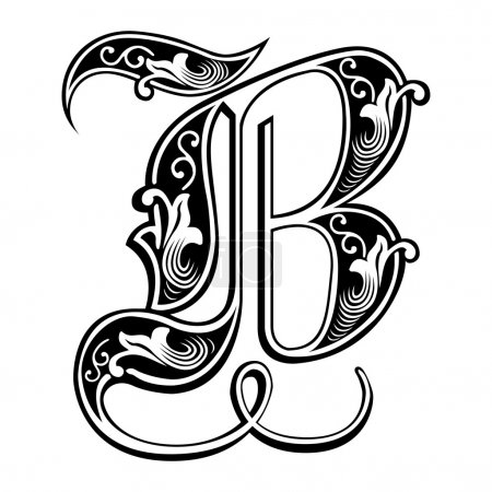 Illustration for Beautiful decoration English alphabets, Gothic style, letter B - Royalty Free Image