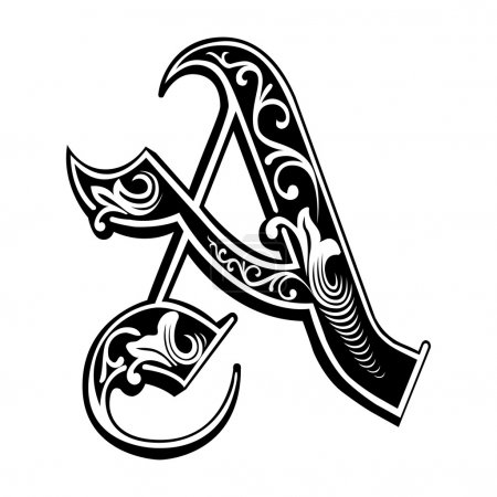 Illustration for Beautiful decoration English alphabets, Gothic style, letter A - Royalty Free Image