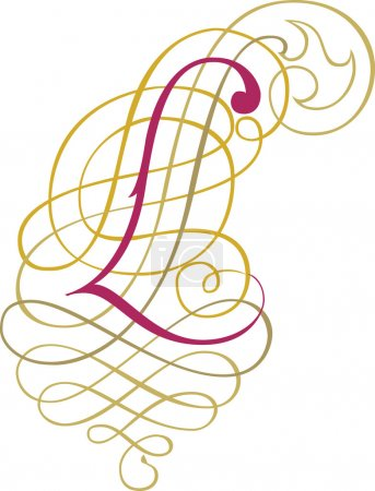 Calligraphic English alphabets, fashionable and stylish letter L