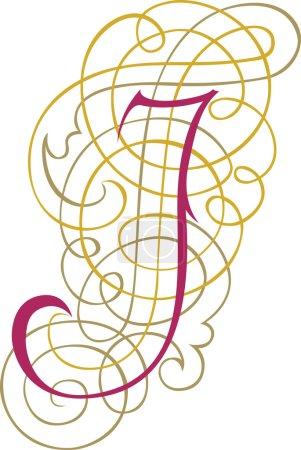 Calligraphic English alphabets, fashionable and stylish letter J
