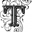 Beautifully decorated English alphabets, letter T...