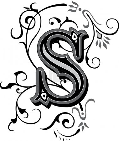 Beautifully decorated English alphabets, letter S