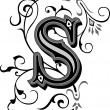 Beautifully decorated English alphabets, letter S...