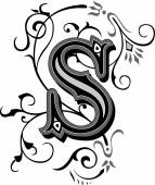 Beautifully decorated English alphabets letter S