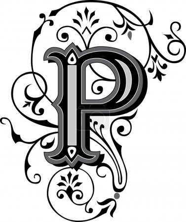 Beautifully decorated English alphabets, letter P