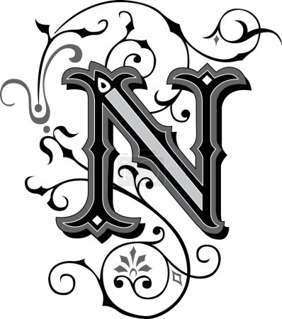 Beautifully decorated English alphabets, letter N