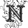 Beautifully decorated English alphabets, letter N...