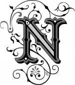 Beautifully decorated English alphabets letter N