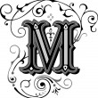 Beautifully decorated English alphabets, letter M...