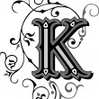 Beautifully decorated English alphabets, letter K...