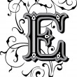 Beautifully decorated English alphabets, letter E...