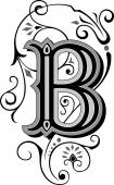 Beautifully decorated English alphabets letter B