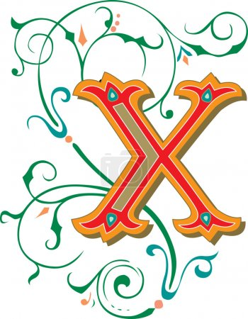 Beautifully decorated English alphabets, letter X