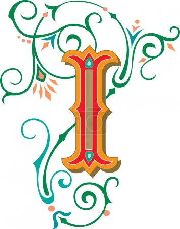 Beautifully decorated English alphabets, letter I