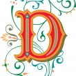 Beautifully decorated English alphabets, letter D...