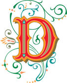 Beautifully decorated English alphabets letter D