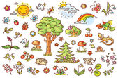 Cartoon nature set with trees flowers berries and small forest animals no gradients