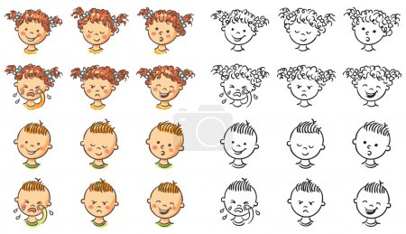 Illustration for Set of boy and girl faces with different emotions, both colorful and black and white - Royalty Free Image