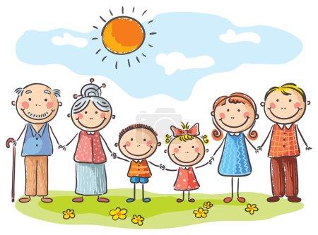 Photo pour Famille heureuse avec deux enfants et grands-parents - image libre de droit