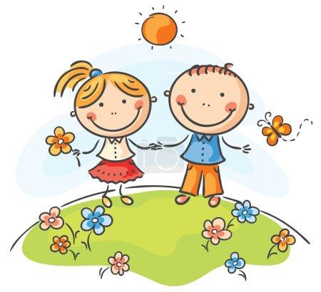 Illustration pour Enfants heureux sur une journée d'été - image libre de droit