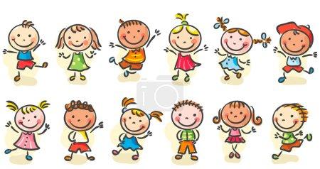 Photo pour Happy dessin animé enfants sketchy sauter ou danser - image libre de droit