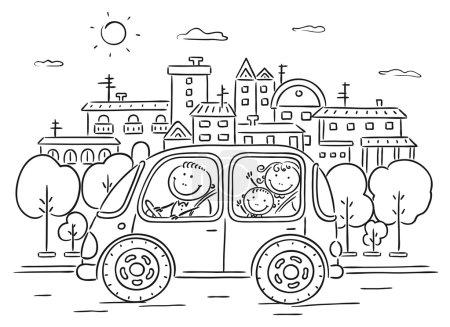 Photo pour Bonne famille voyageant en voiture dans la ville - noir et blanc - image libre de droit