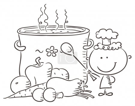 Illustration for A little chef with a giant boiling pot and vegetables - Royalty Free Image
