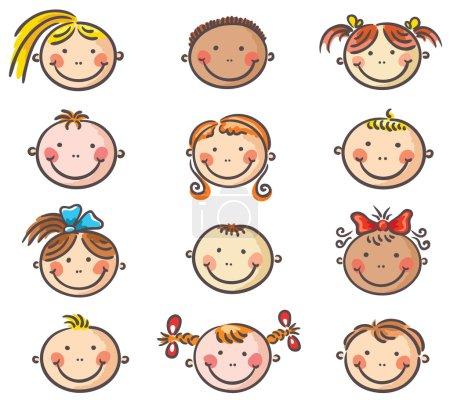 Photo pour Ensemble de joyeux enfants dessins animés visages - image libre de droit