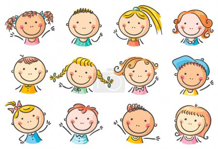 Illustration for Set of 12 happy cartoon kids faces - Royalty Free Image