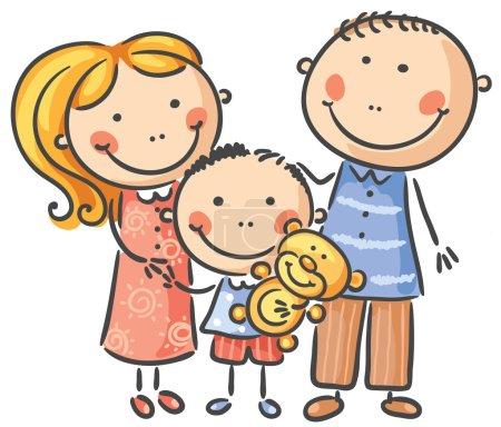 Photo pour Famille heureuse avec un enfant, isolée sur blanc - image libre de droit