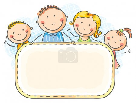 Photo pour Famille heureuse avec deux enfants avec un cadre vierge - image libre de droit