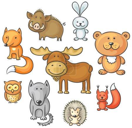 Set of cartoon wild forest animals...