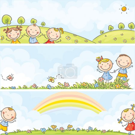 Illustration for Horizontal happy cartoons kids banners - Royalty Free Image