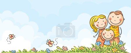 Illustration pour Bannière familiale horizontale de dessin animé heureux - image libre de droit