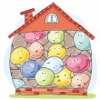 Cartoon house overcrowded by unhappy inhabitants...