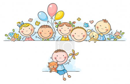 Illustration for Cartoon happy kids border or frame - Royalty Free Image