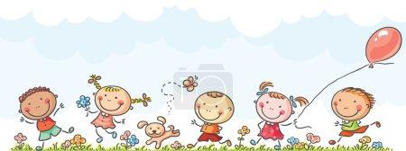 Illustration pour Des enfants heureux qui courent, sans gradients - image libre de droit