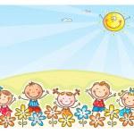 Happy cartoons kids outdoors, vector...