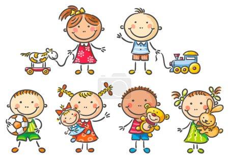 Illustration pour Petits enfants tenant leurs jouets - image libre de droit