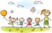 Happy kids in the kindergarten with their teacher