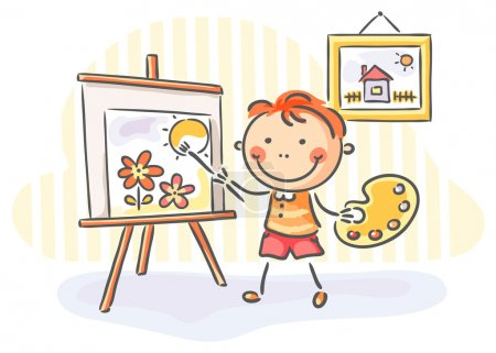 Illustration for Little boy painting a picture - Royalty Free Image