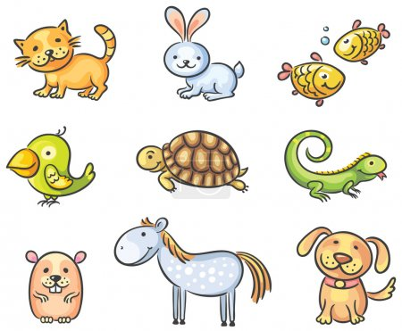 Set of cartoon pet animals...