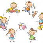 Happy cartoon kids playing outdoors...