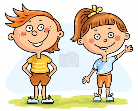 Illustration for Happy kids - a boy and a girl - Royalty Free Image